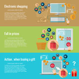 Flache Konzepte des Entwurfes für das Eeinkaufen elektronisches Einkaufen, Preisverfall, Aktion, wenn ein Geschenk gekauft wird vektor abbildung