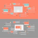 Flache Konzepte des Entwurfes für Dienstleistungen des Sozialen Netzes Lizenzfreie Stockbilder