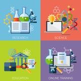 Flache Konzepte des Entwurfes für Forschung, Wissenschaft lizenzfreie abbildung