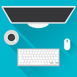 Flache Konzepte des Entwurfes für Geschäft, globalen Markt, Marktberechnung, Büroarbeit, Konzepte und Ikonen für Netzfahnen, Vekt lizenzfreie abbildung