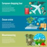 Flache Konzepte des Entwurfes für juorney und das Reisen Konzepte für Netzfahnen und Stockbild