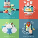 Flache Konzepte des Entwurfes für on-line-Kommunikation lizenzfreie abbildung