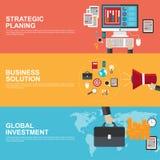 Flache Konzepte des Entwurfes für strategische Planung, globale Investition und Geschäftslösung lizenzfreie abbildung