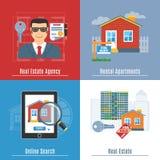 Flache Konzepte Real Estates stock abbildung