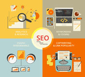 Flache Konzeptillustration Infographic von SEO Lizenzfreie Stockfotos