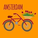 Flache Kunst Amsterdam-Stadt Reisemarkstein, niederländisches Fahrrad, Holland-Fahrrad und Blumen vektor abbildung