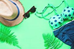 Flache Lage des Bikinis und des Zubehörs mit Farn verlässt auf grünem Hintergrund, Sommer Stockbild