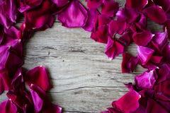Flache Lage eines Kreises gemacht mit den losen rosafarbenen Blumenblättern in einem hellen Holz lizenzfreie stockfotos