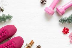 Flache Lage von frohen Weihnachten und von guten Rutsch ins Neue Jahr für gesundes und a stockfoto