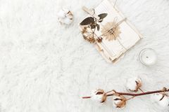 Flache Lagezusammensetzung mit trockenen Blumen, Baumwolle und alten Buchstaben Lizenzfreie Stockfotos