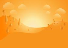 Flache Landschaft, Hügelberg und wilder Hintergrund, orange Ton, Design Stockfoto