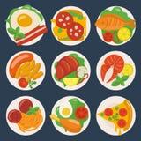 Flache Lebensmittel-Ikonen Stockbilder