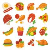 Flache Lebensmittel-Ikonen Stockfotografie