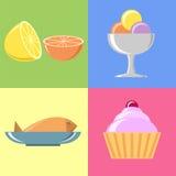 Flache Lebensmittel-Illustrationen und Ikonen eingestellt Stockfotos