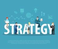 Flache Leute der Geschäftsstrategie beschriften Vektor Stockbild