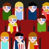 Flache Leute, die im Kino sitzen und einen Film aufpassen Bunte vektorabbildung Lizenzfreie Stockbilder