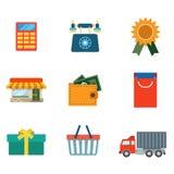 Flache on-line-Einkaufslieferungsnetz-APP-Ikone: Warenkorbgeldbörse Lizenzfreie Stockfotos