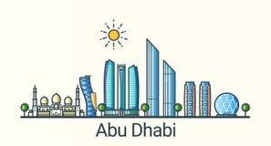 Flache Linie Abu Dhabi-Fahne Stockfotografie