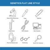 Flache Linie Art der Genetik vektor abbildung