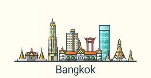 Flache Linie Bangkok-Fahne Lizenzfreies Stockbild