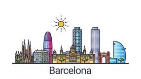 Flache Linie Barcelona-Fahne stock abbildung