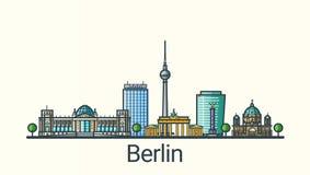 Flache Linie Berlin-Fahne lizenzfreie abbildung