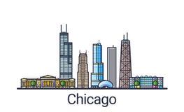 Flache Linie Chicago-Fahne Stockbild