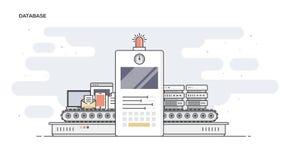 Flache Linie der Datenbank entwarf Fahne Stockfoto