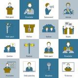 Flache Linie der Ikonen des öffentlichen Sprechens Lizenzfreie Stockbilder
