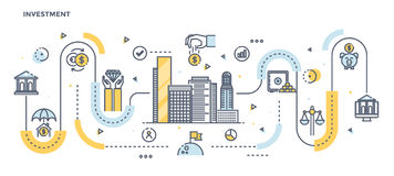 Flache Linie Design-Titel - Investition lizenzfreie abbildung