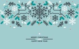Flache Linie Design Weihnachten und neues Jahr vector Illustrationen stock abbildung