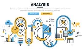 Flache Linie Designvektor-Illustrationskonzept für Datenanalyse Stockfotografie