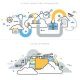 Flache Linie Designvektor-Illustrationskonzepte für die Wolkendatenverarbeitung