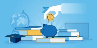 Flache Linie Designwebsitefahne der Investition im Wissen stock abbildung