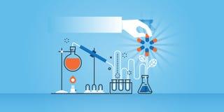 Flache Linie Designwebsitefahne der medizinischen Forschung, Labor, Wissenschaft, Apotheke Lizenzfreies Stockbild