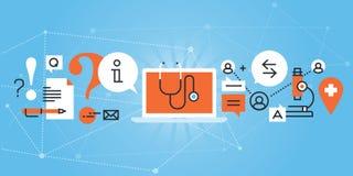 Flache Linie Designwebsitefahne der medizinischen on-line-Diagnose und der Behandlung Lizenzfreies Stockfoto