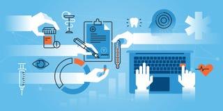 Flache Linie Designwebsitefahne der Medizinischer Fakultät, Facharztausbildung lizenzfreie abbildung