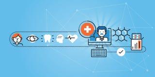Flache Linie Designwebsitefahne von ärztlichen on-line-Bemühungen und von Unterstützung Stockfotos