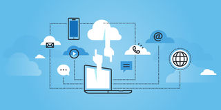 Flache Linie Designwebsitefahne von Datenverarbeitungsdienstleistungen der Wolke Lizenzfreie Stockfotos
