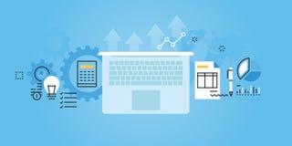 Flache Linie Designwebsitefahne von Dienstleistungen Stockfotografie