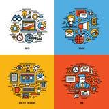 Flache Linie die Ikonen, die von SEO eingestellt werden, SMM, UI und UX entwerfen, Stockfotos