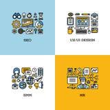 Flache Linie die Ikonen, die von SEO eingestellt werden, UI und UX entwerfen, SMM, Stunde kreativ Lizenzfreie Stockbilder