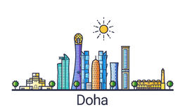 Flache Linie Doha-Fahne Stockbilder