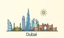 Flache Linie Dubai-Fahne Stockbilder