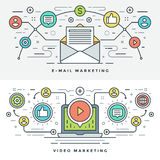 Flache Linie E-Mail und Video-Marketing-Konzept Vector Illustration Lizenzfreies Stockfoto
