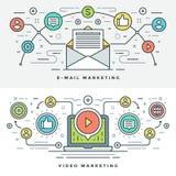 Flache Linie E-Mail und Video-Marketing-Konzept Vector Illustration Lizenzfreies Stockfoto