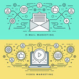 Flache Linie E-Mail und Video-Marketing-Konzept Vector Illustration Moderne dünne lineare Anschlagvektorikonen Lizenzfreie Stockbilder