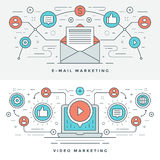 Flache Linie E-Mail und Video-Marketing-Konzept Vector Illustration Moderne dünne lineare Anschlagvektorikonen Lizenzfreie Stockfotografie