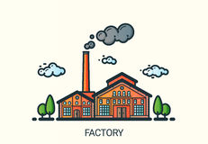 Flache Linie Fabrikillustration Stockfotos