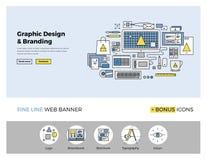 Flache Linie Fahne des Grafikdesigns Stockbilder